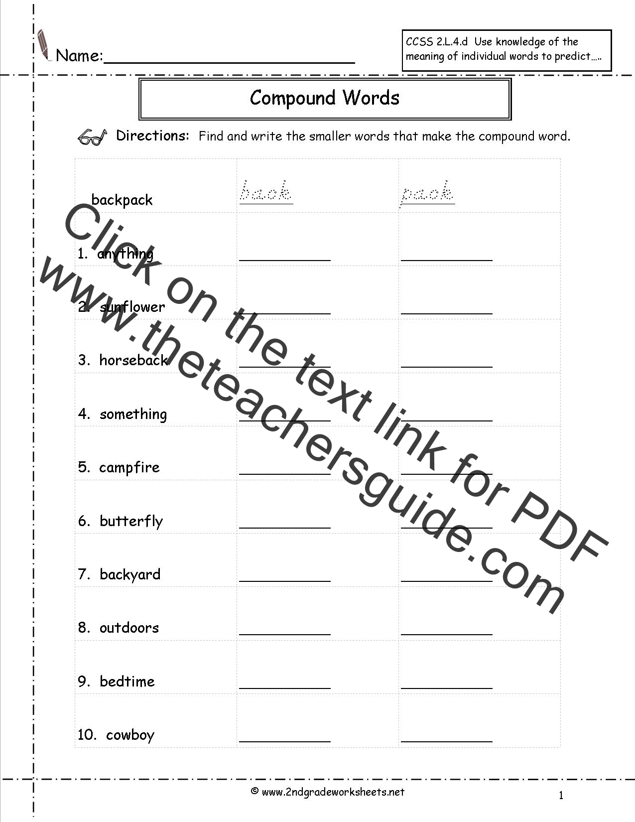 Worksheets Printable Worksheets For 2nd Grade compound words worksheets