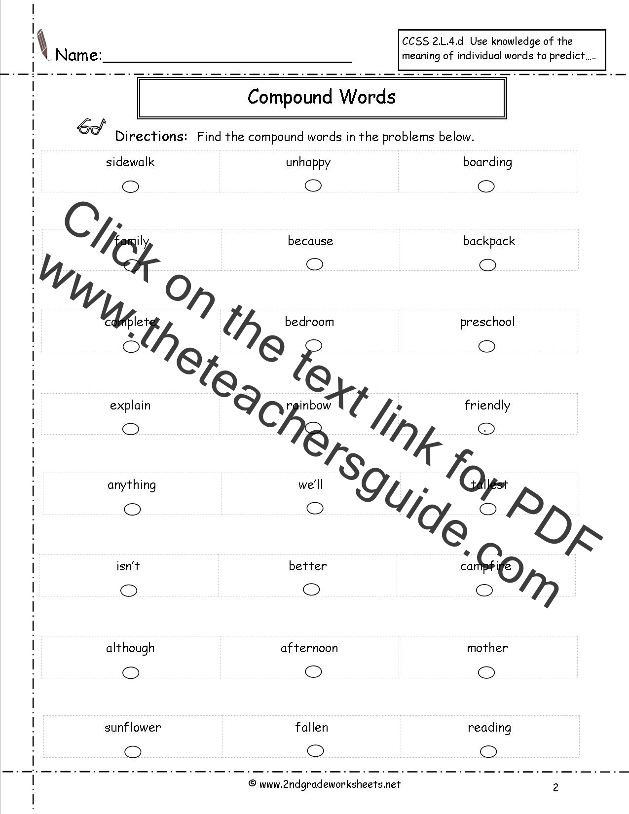 Printables Compound Word Worksheet compound words worksheets