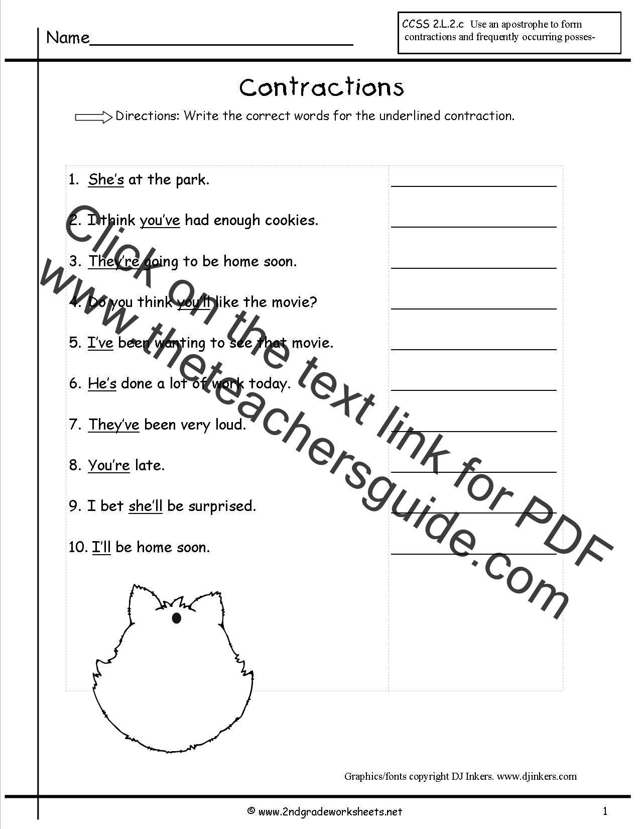 Free Contractions Worksheets and Printouts