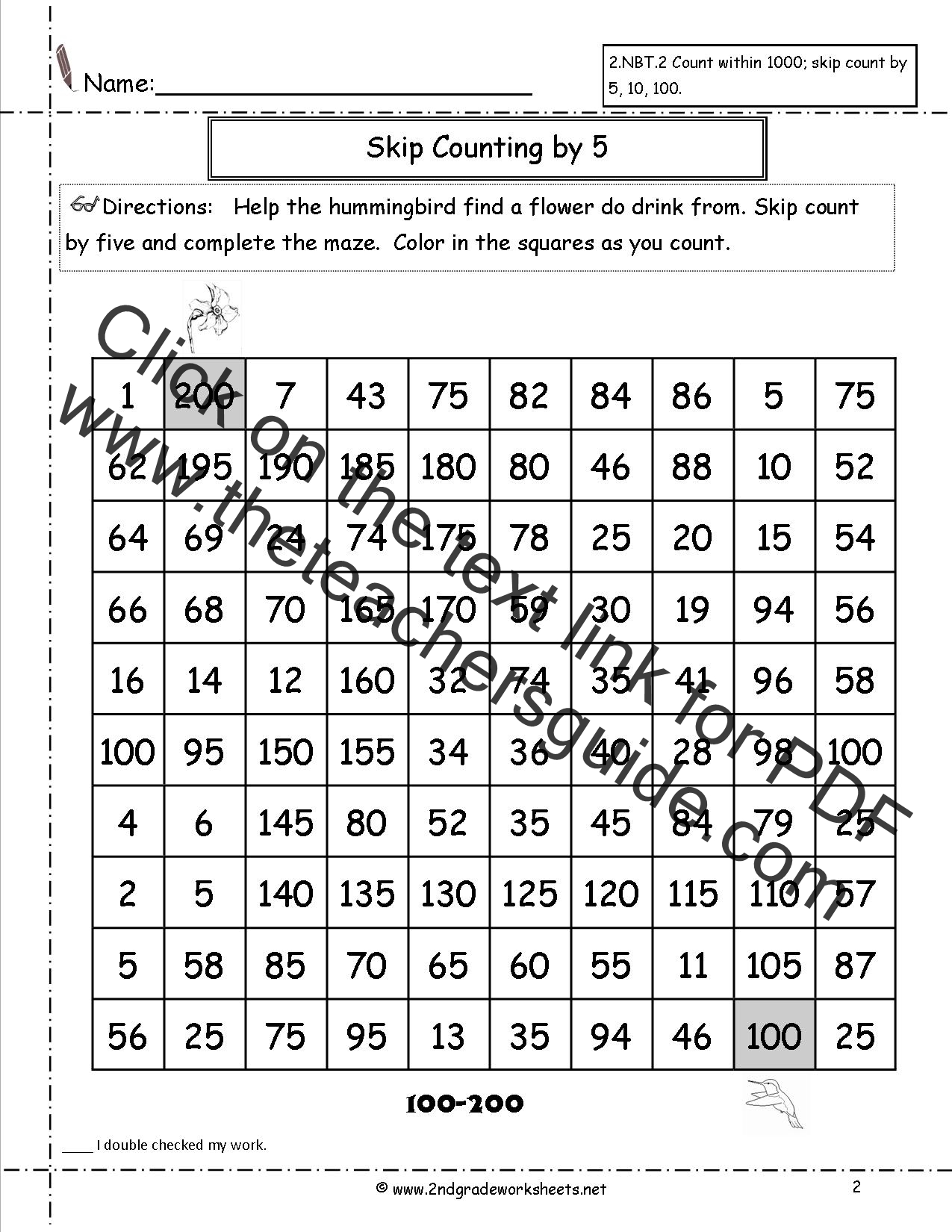 Free Skip Counting Worksheets – Counting by 5 Worksheets