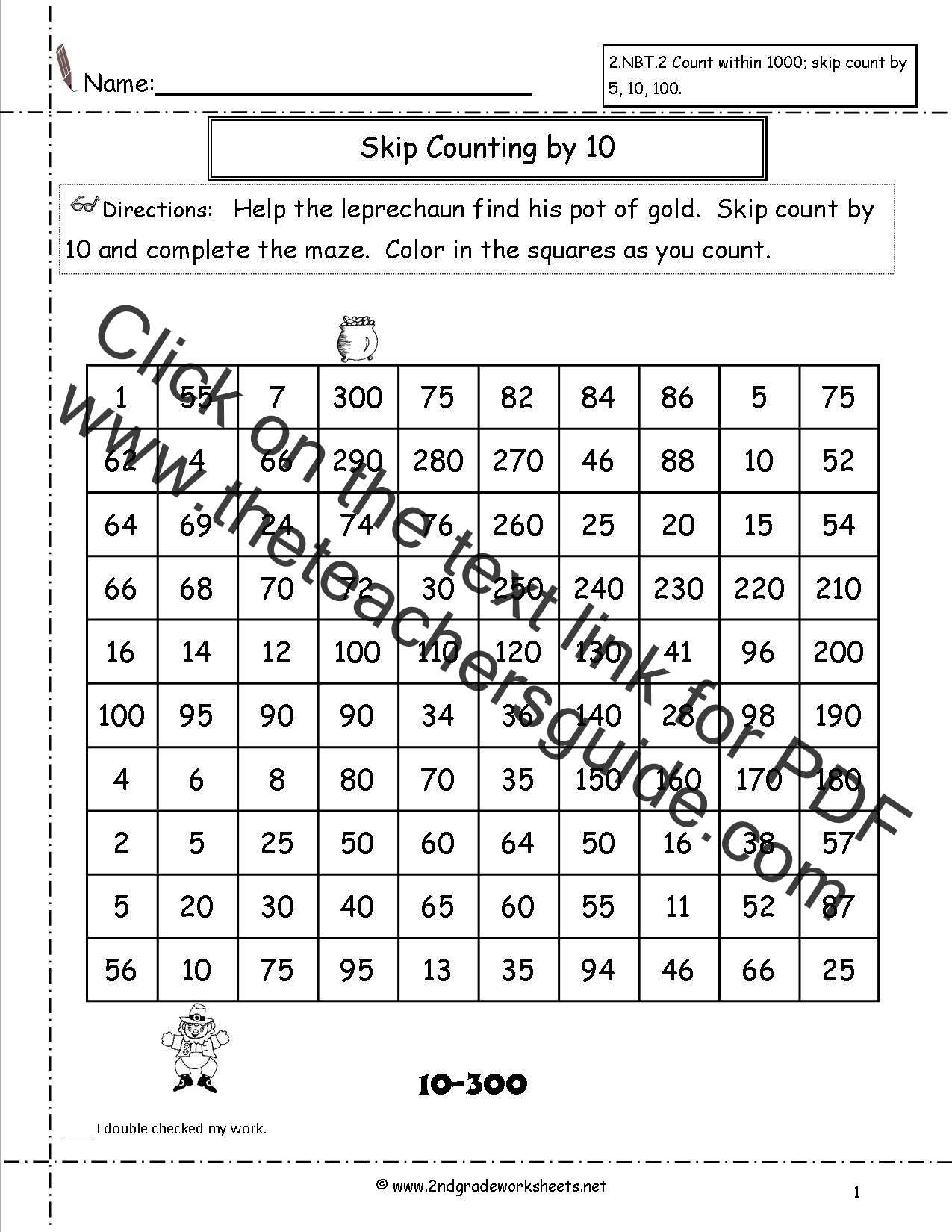 Skip counting by 2s up to 100 worksheets