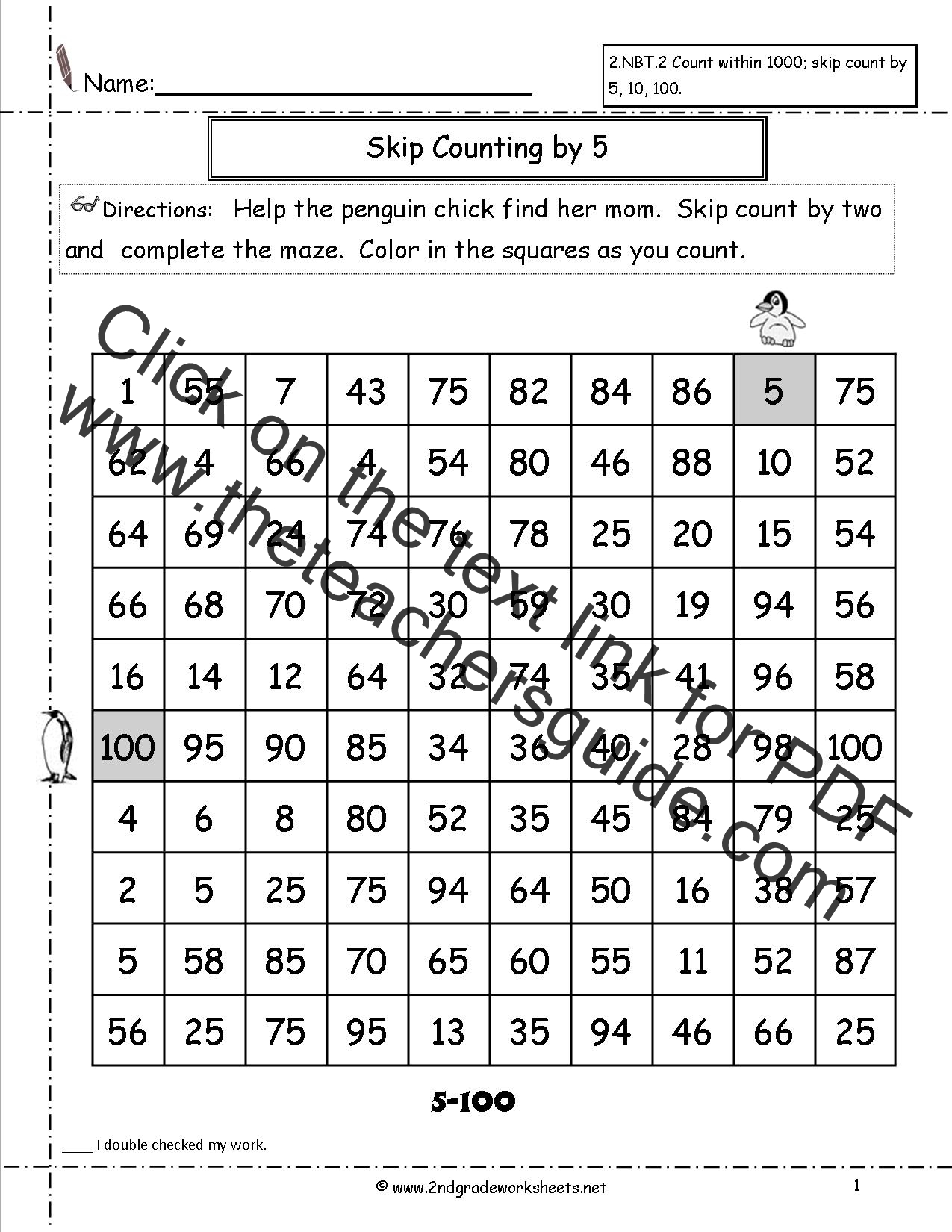 Free Skip Counting Worksheets – Count to 100 Worksheet