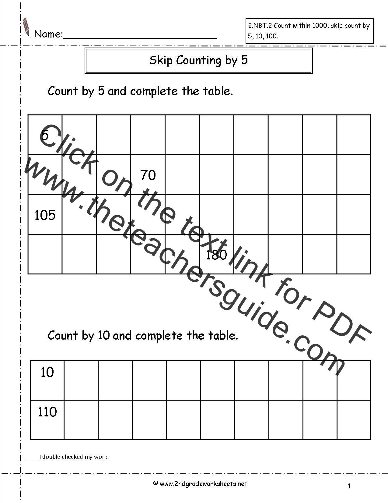 worksheet Worksheets Counting To 100 free skip counting worksheets count by 5 and 10