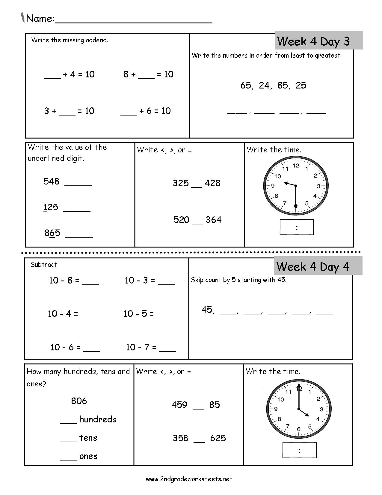 2nd Grade Daily Math Worksheets – Common Core 2nd Grade Math Worksheets