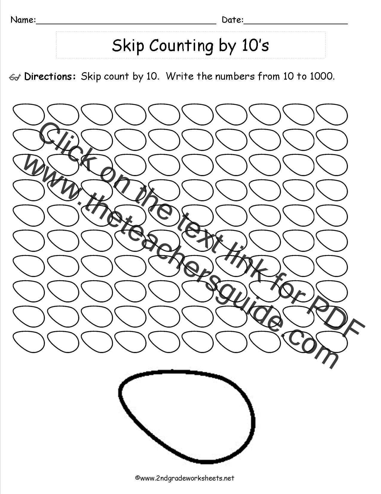 Easter Worksheets and Printouts – Skip Counting by 10 Worksheets