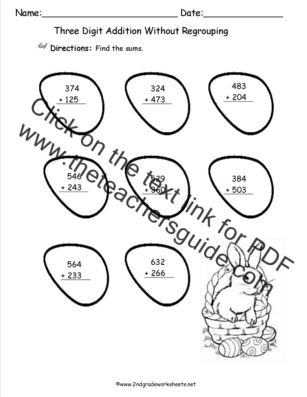 Easter Worksheets and Printouts – Three Digit Subtraction Without Regrouping Worksheets
