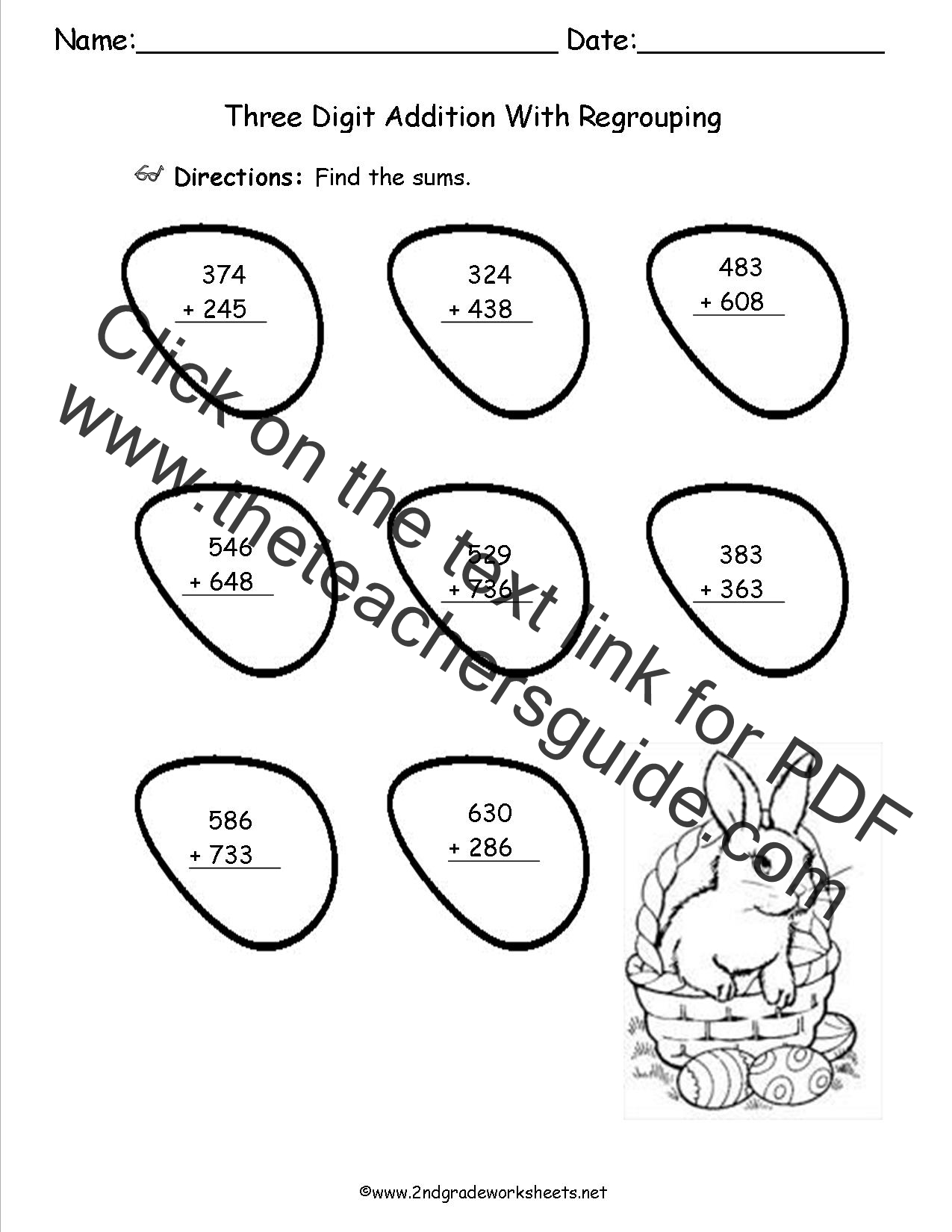 math worksheet : easter worksheets and printouts : Three Digit Addition With Regrouping Worksheets