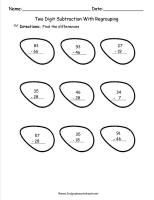 two digit subtraction with regrouping worksheet
