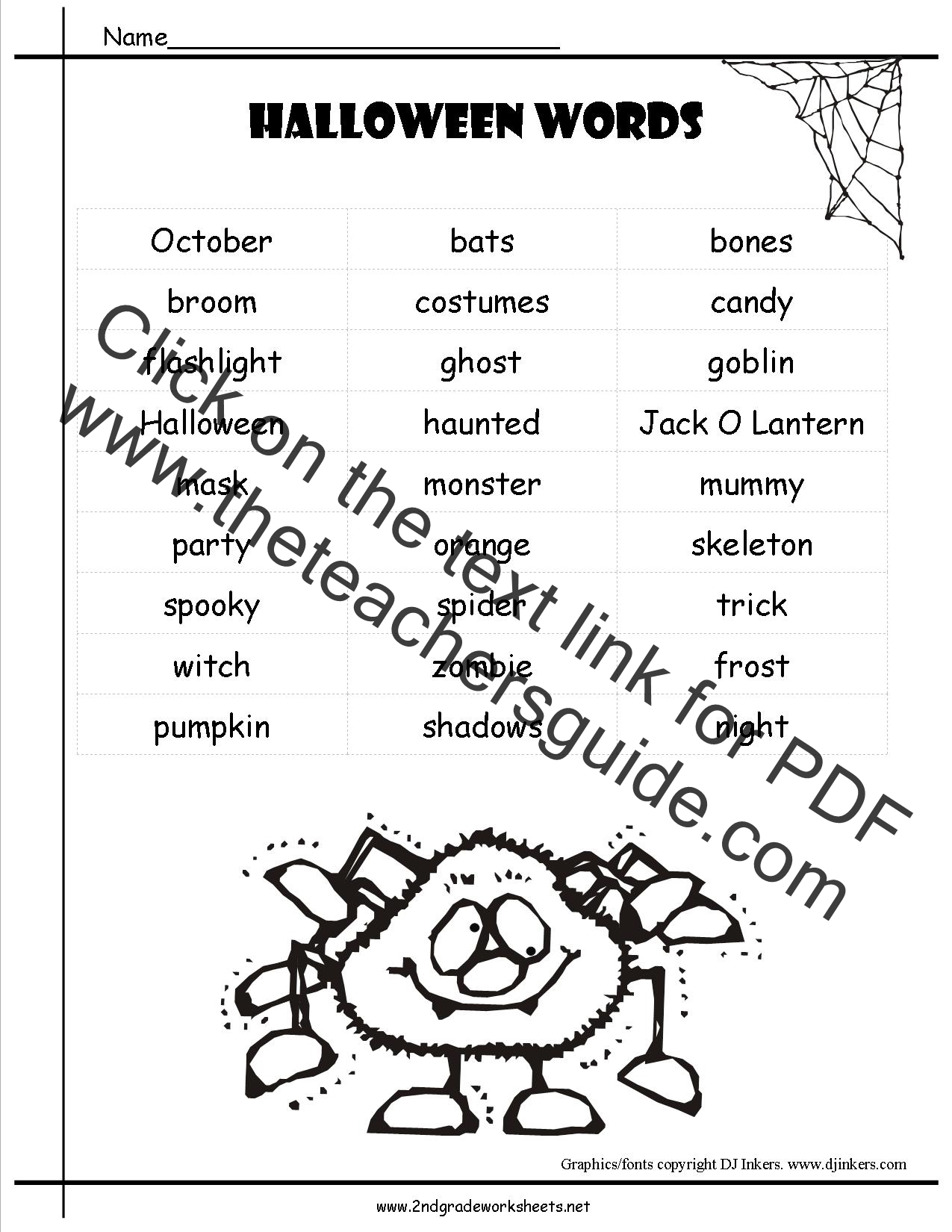 Worksheets Halloween Printable Worksheets halloween worksheets and printouts word list