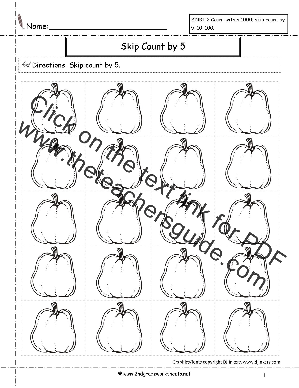 pumpkin skip count worksheet
