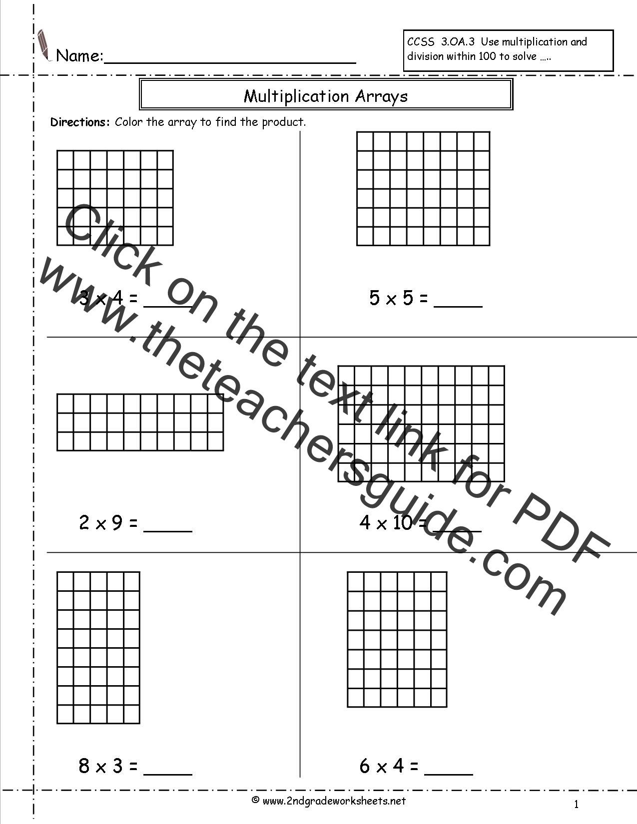 worksheet Area Model Multiplication Worksheets Grade 4 multiplication arrays worksheets worksheet