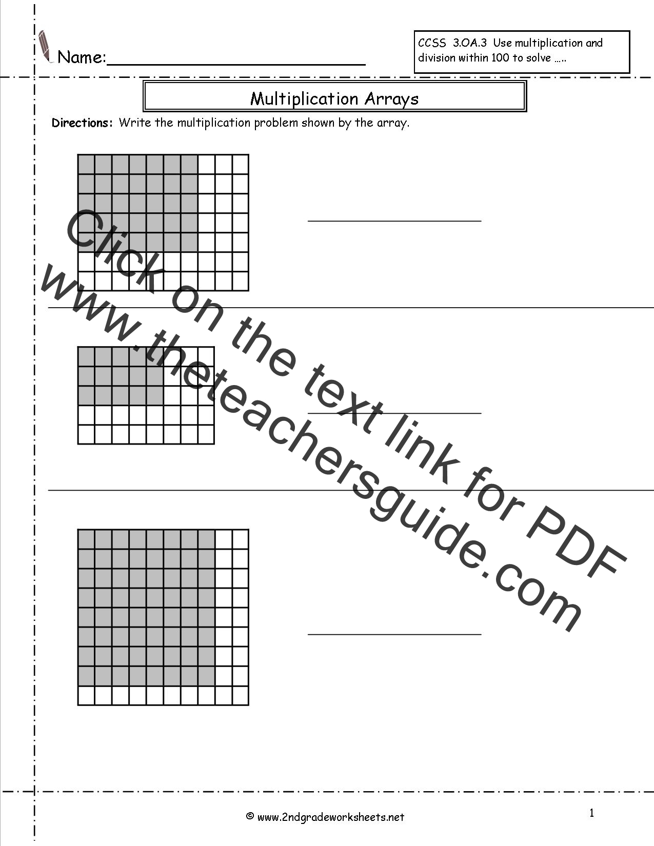 Free Math Worksheets and Printouts – Area Model for Multiplication Worksheets