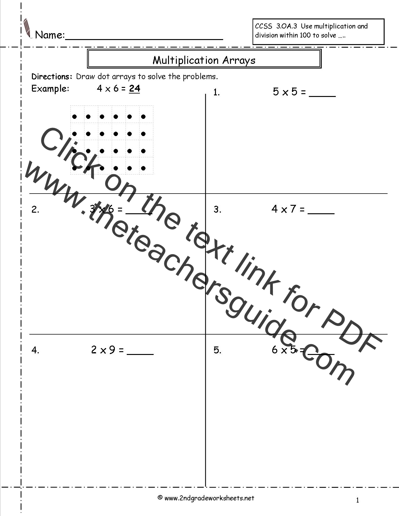 Printables Multiplication Worksheets For 2nd Grade multiplication arrays worksheets array worksheets
