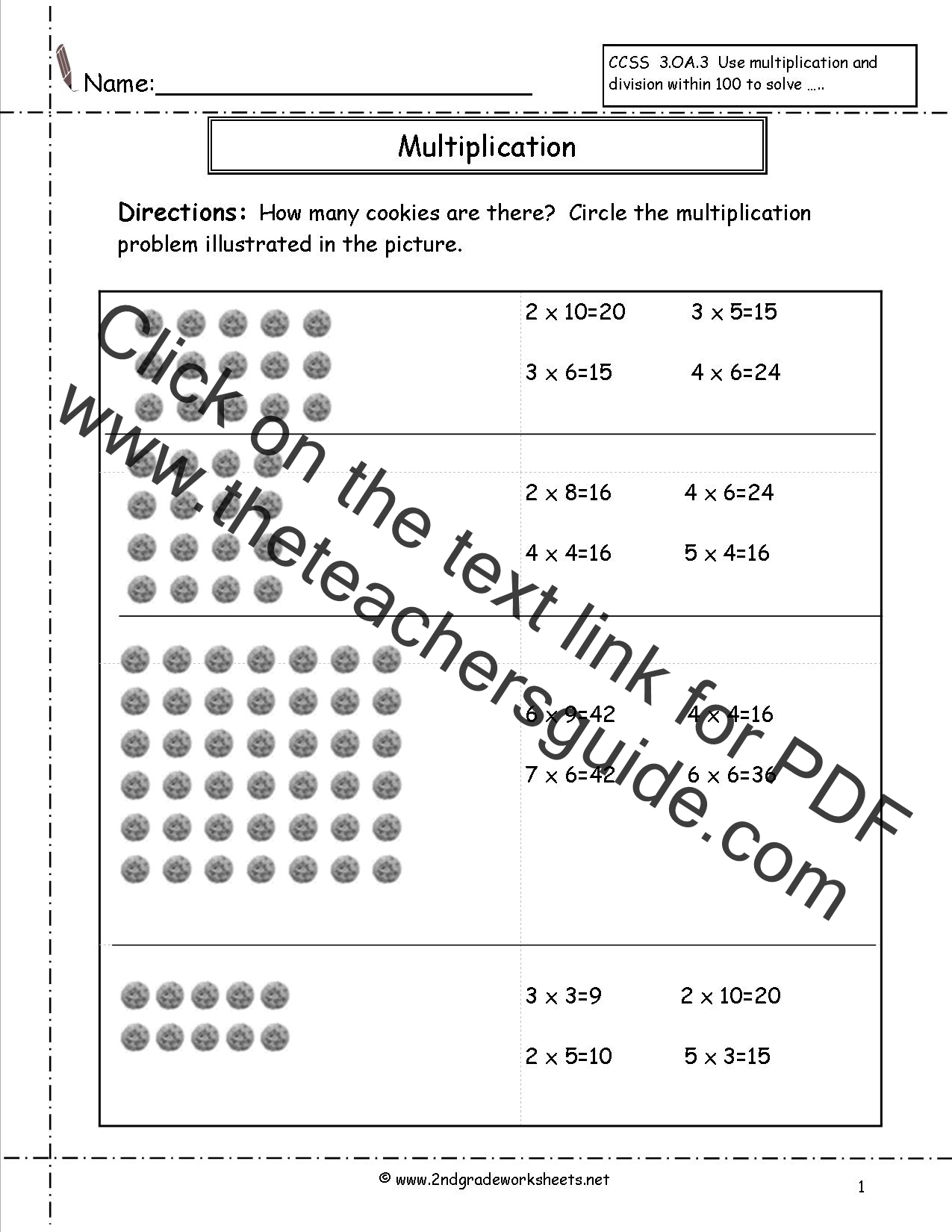 Multiplication Arrays Worksheets – Multiplying by 2 Worksheets