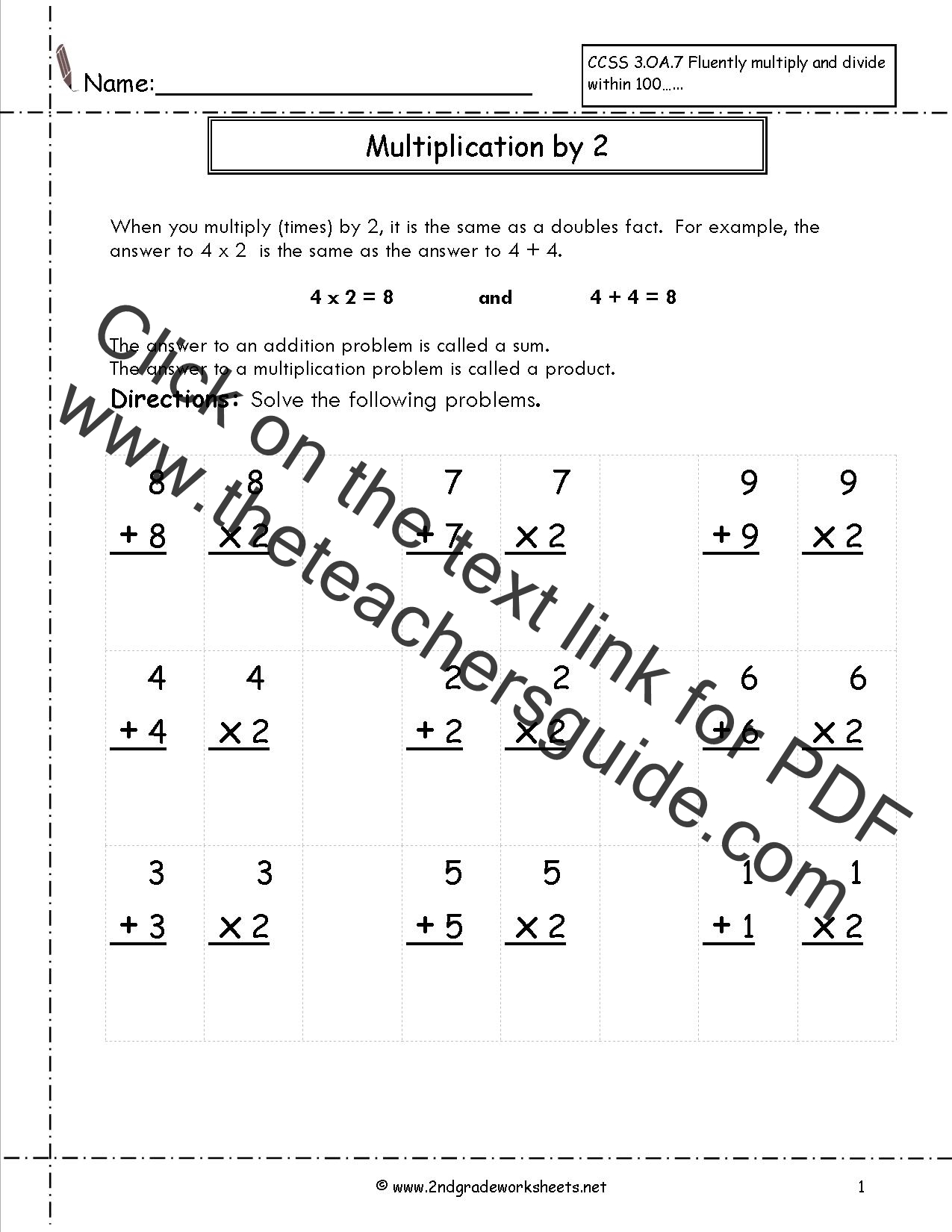 multiplication worksheets and printouts multiplication by two with doubles worksheet