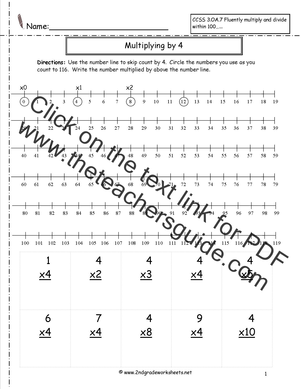 Worksheets Multiplication Worksheets For 2nd Grade worksheets and printouts multiplication by four with numberline worksheet