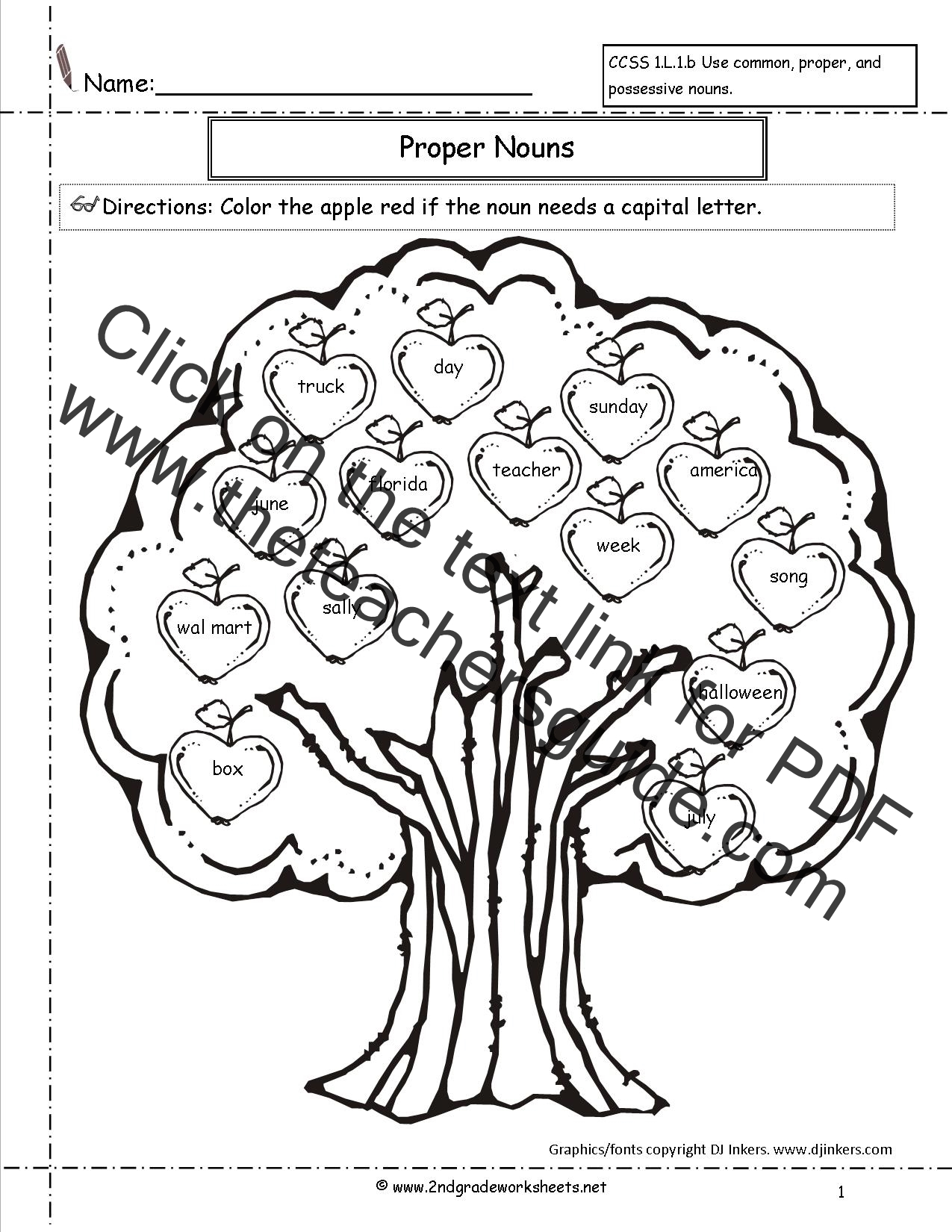 Common and Proper Nouns Worksheet – Proper Noun Worksheets