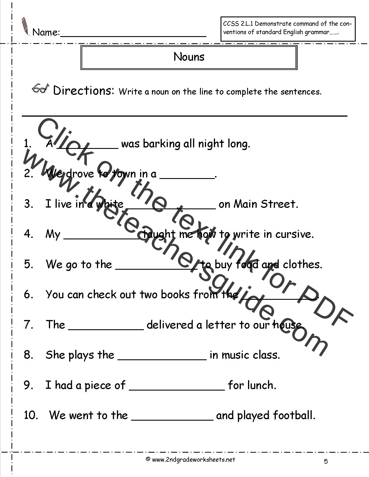 Worksheets Grammar Worksheets For 2nd Grade nouns worksheets and printouts worksheet