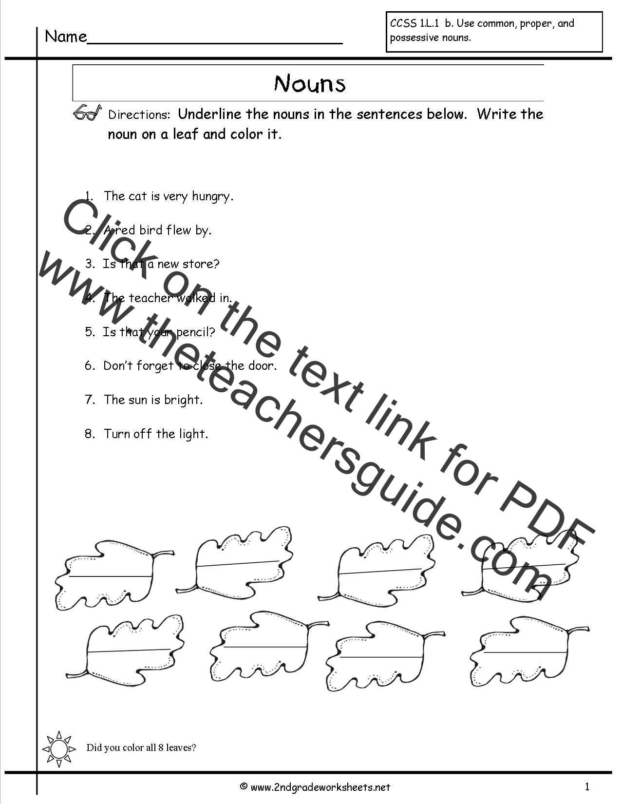 Worksheets Grammar Worksheets For 1st Grade worksheets and printouts nouns worksheet