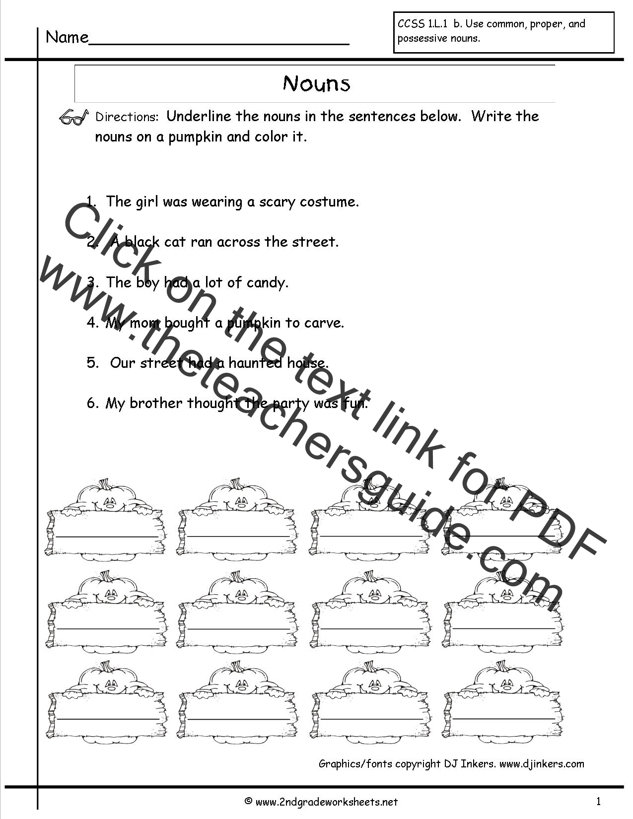 Nouns Worksheets and Printouts – Nouns and Pronouns Worksheet