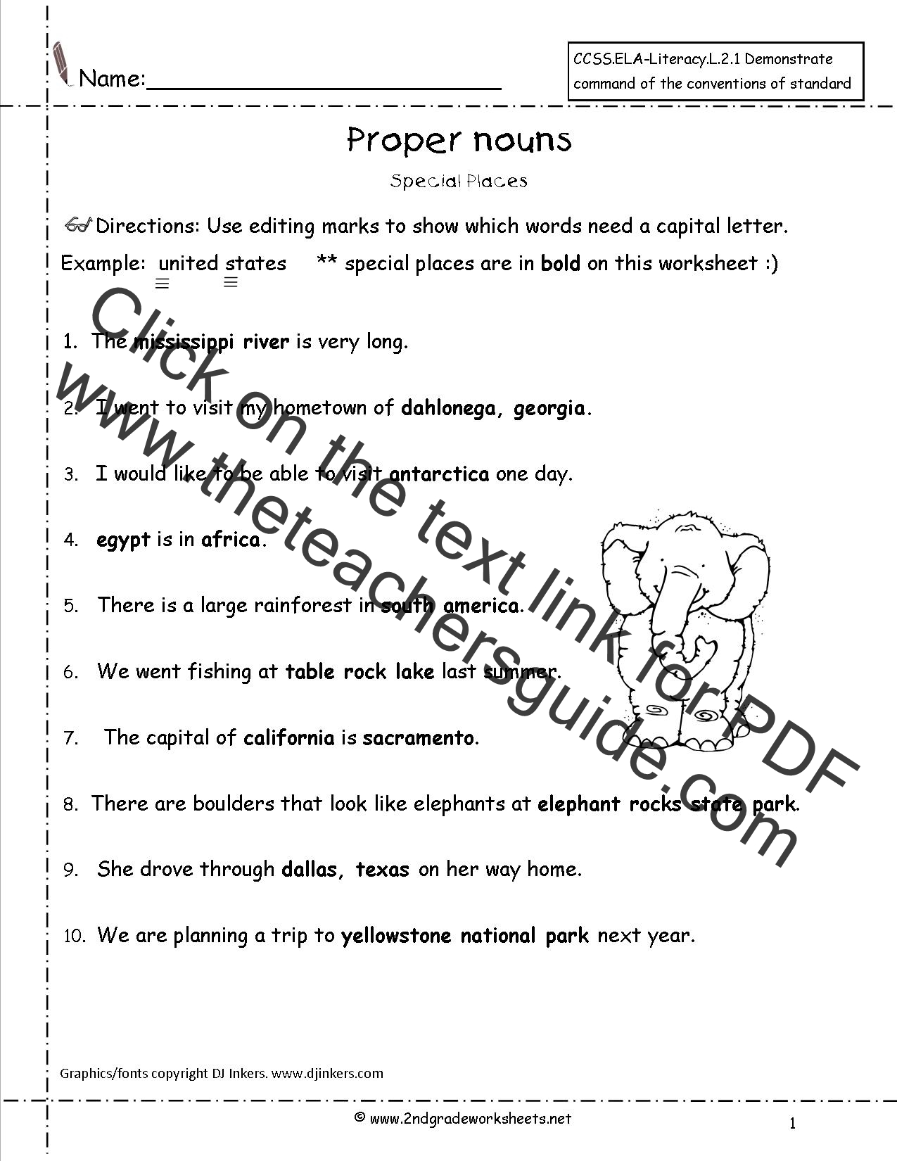 Common and Proper Nouns Worksheet – Capitalization Worksheets Pdf