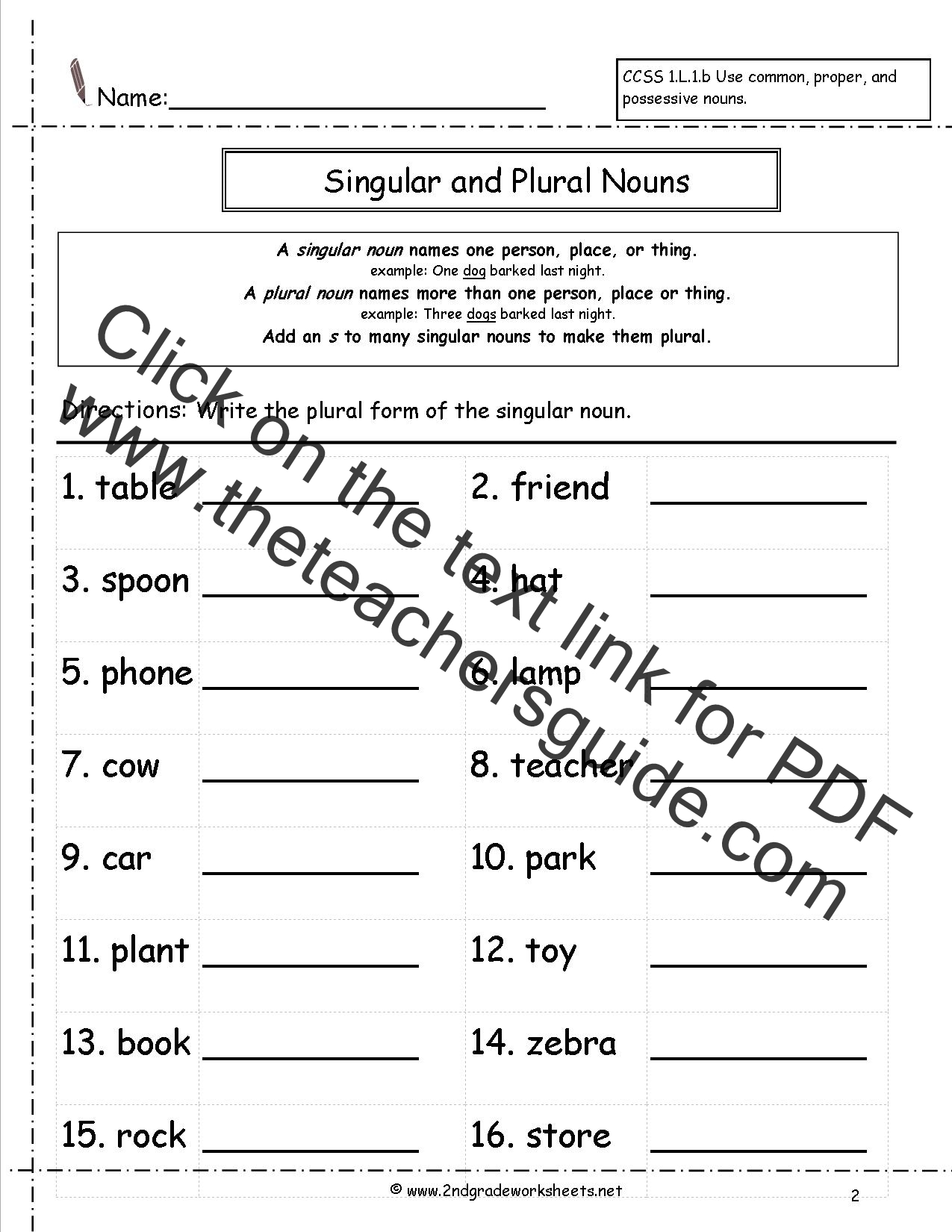 Singular Plural Nouns Worksheets 2nd Grade