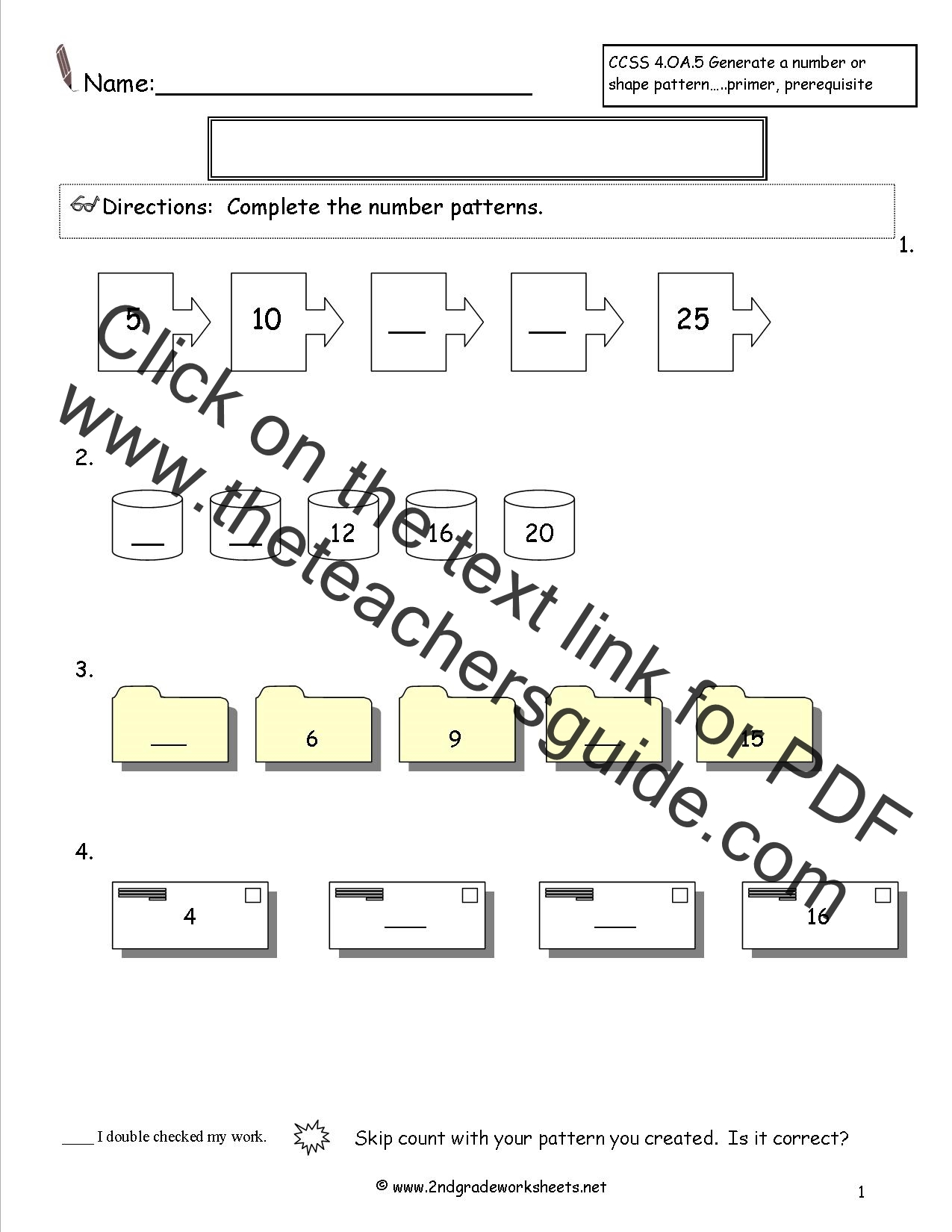 number and shape patterns worksheets pattern test worksheet number patterns test