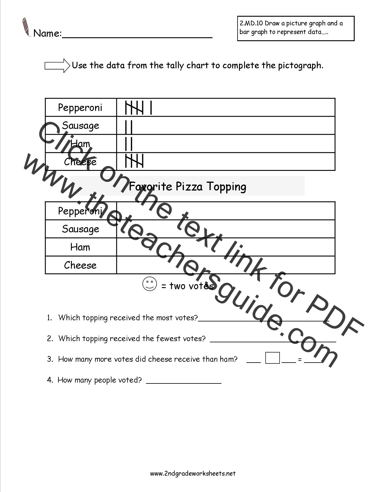 CCSS 2MD10 Worksheets Represent and Interpret Data Worksheets – Pictograph Worksheets