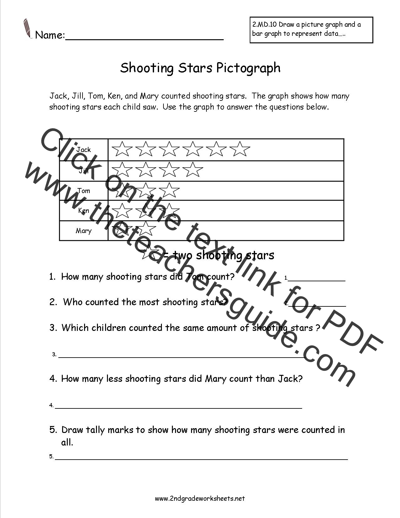 Worksheets Science Worksheets For 3rd Grade second grade reading and creating pictograph worksheets shooting stars worksheet