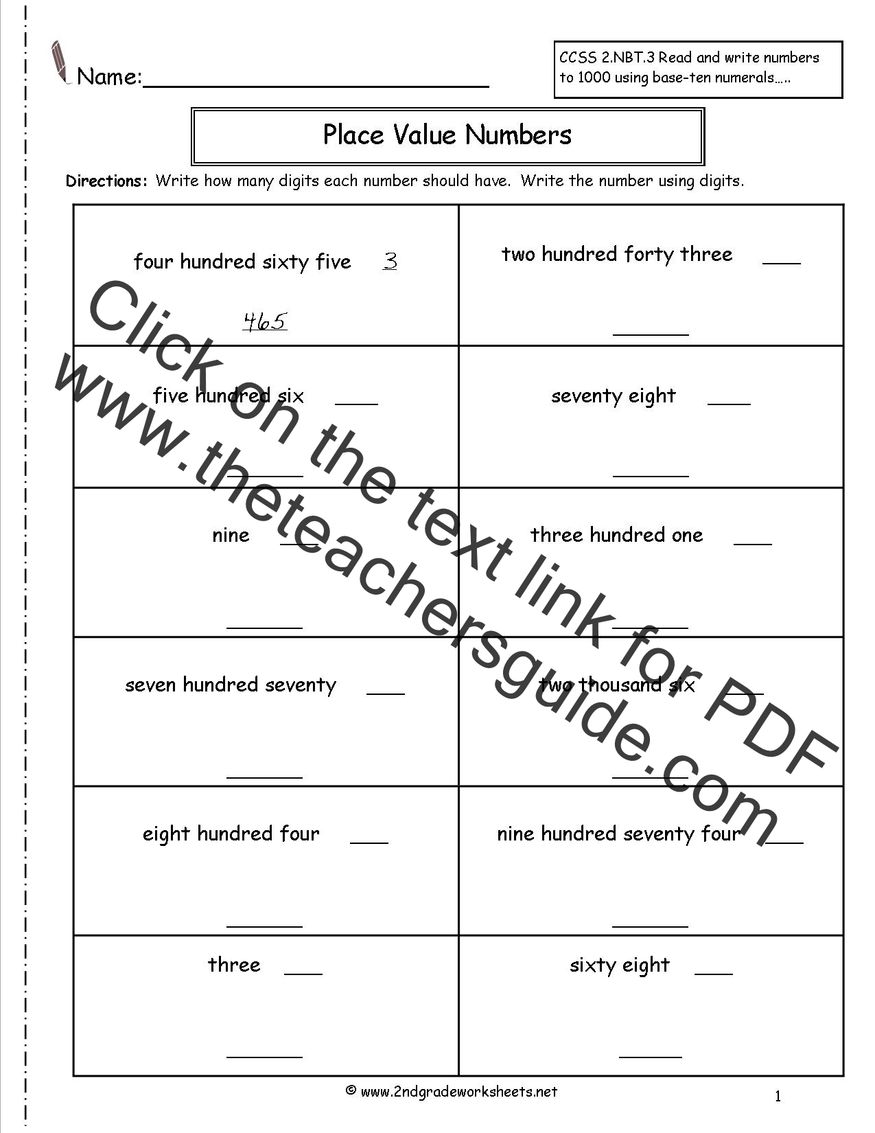 With Place Value Hundreds Worksheets Also Digit Place Value Worksheets ...