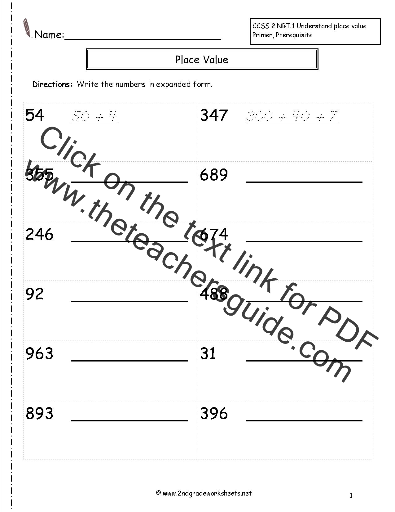Second Grade Reading and Writing Numbers to 1000 Worksheets – Number Writing Worksheets