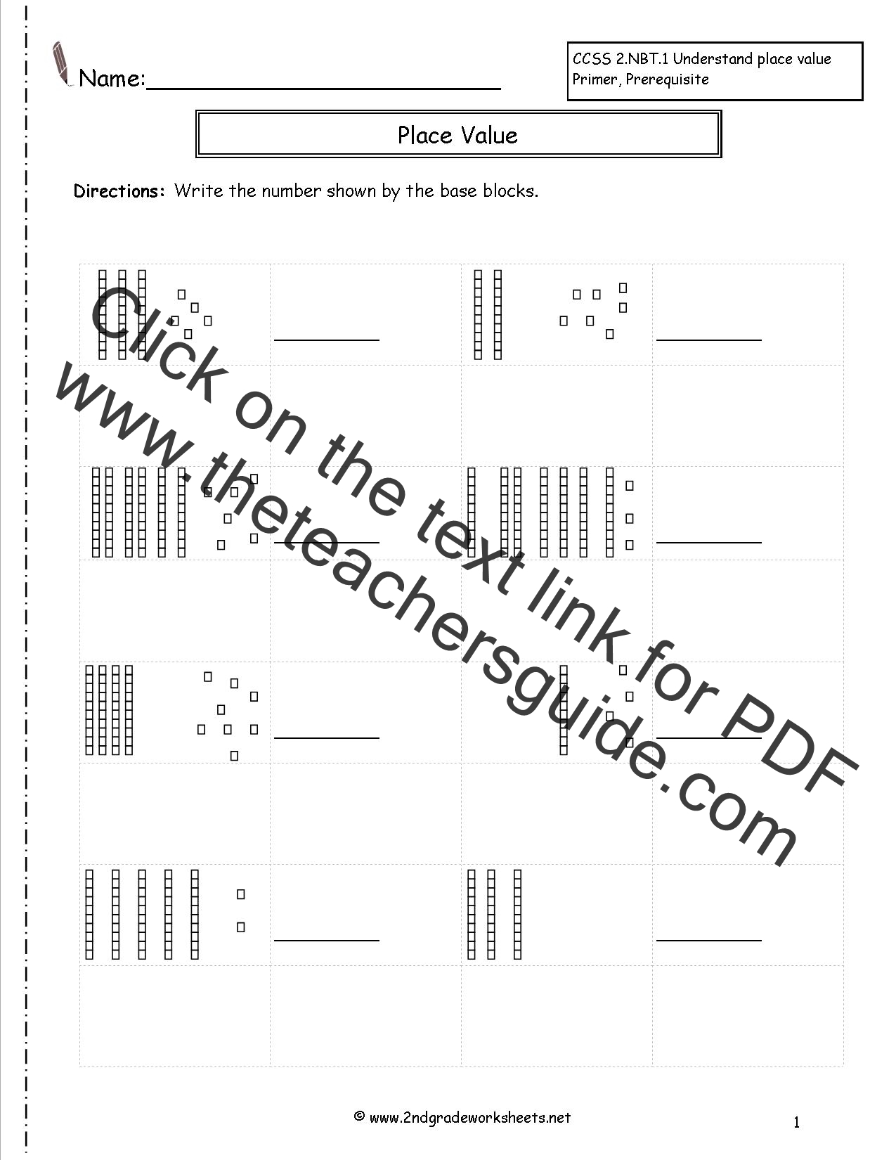 Worksheets Place Value Blocks Worksheets second grade place value worksheets worksheet