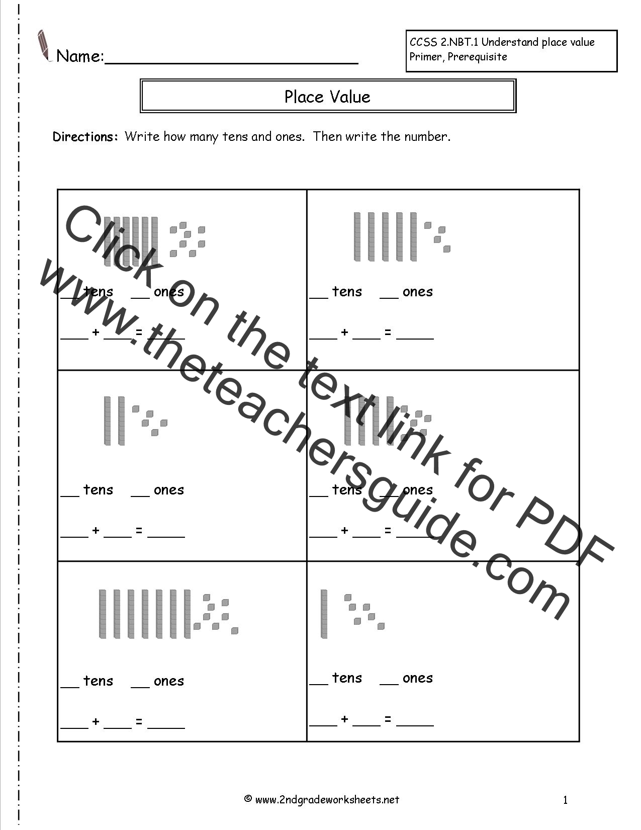 Tens And Ones Place Value Worksheets 1st Grade 4th grade – First Grade Place Value Worksheets