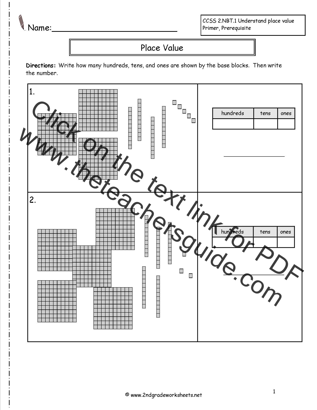 Second Grade Place Value Worksheets – Base Ten Math Worksheets