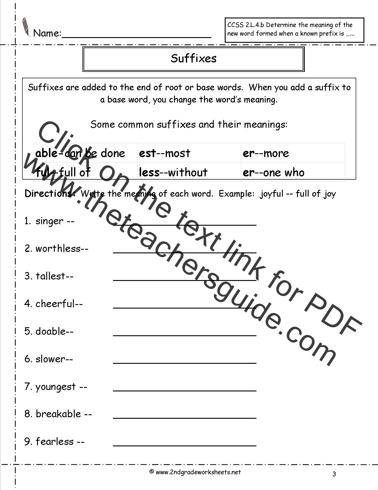 Printables Suffixes Worksheets second grade prefixes worksheets suffixes worksheet