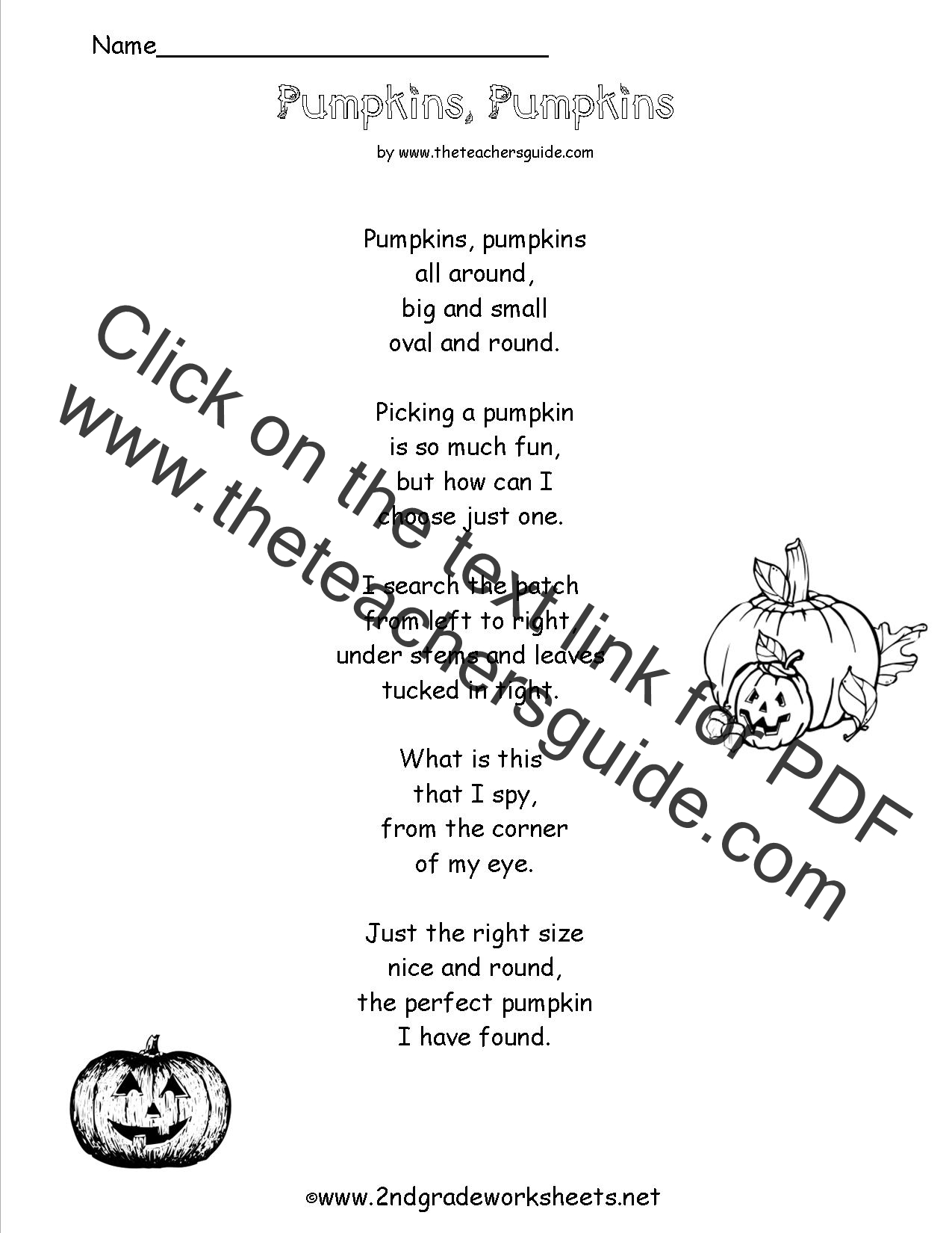 Worksheet Comprehension Activities For 2nd Grade poem comprehension worksheets pumpkins poem