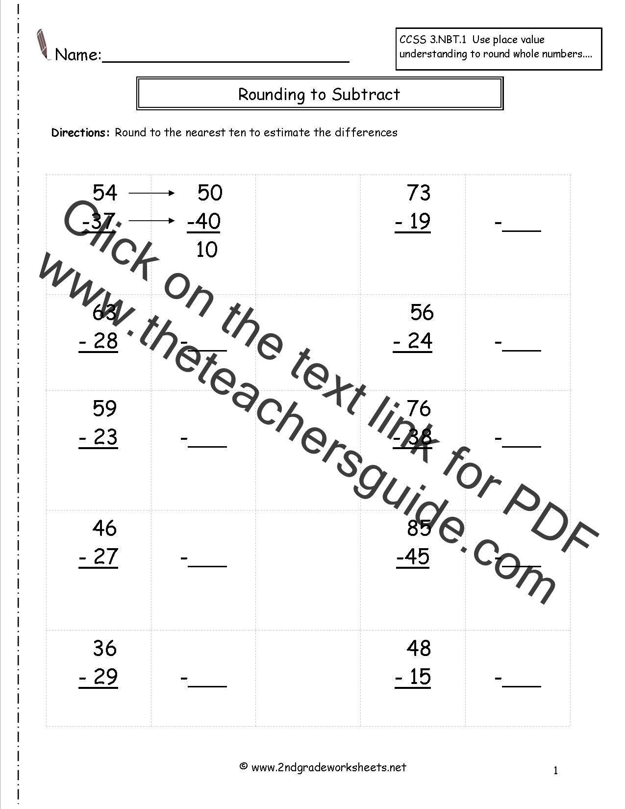 worksheet Estimating Sums rounding whole numbers worksheets to estimate the differences