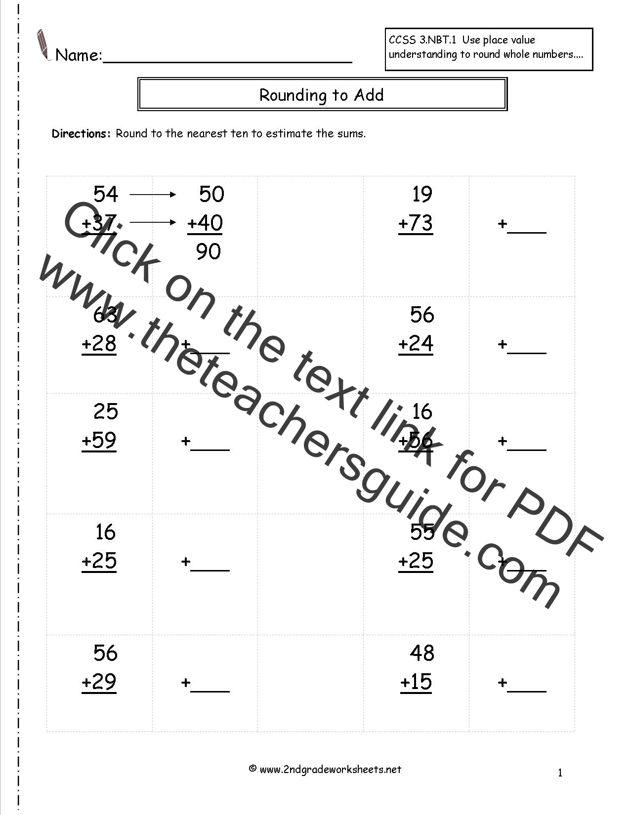 worksheet Rounding Numbers To The Nearest Ten Worksheets rounding whole numbers worksheets to estimate the sums 2 3