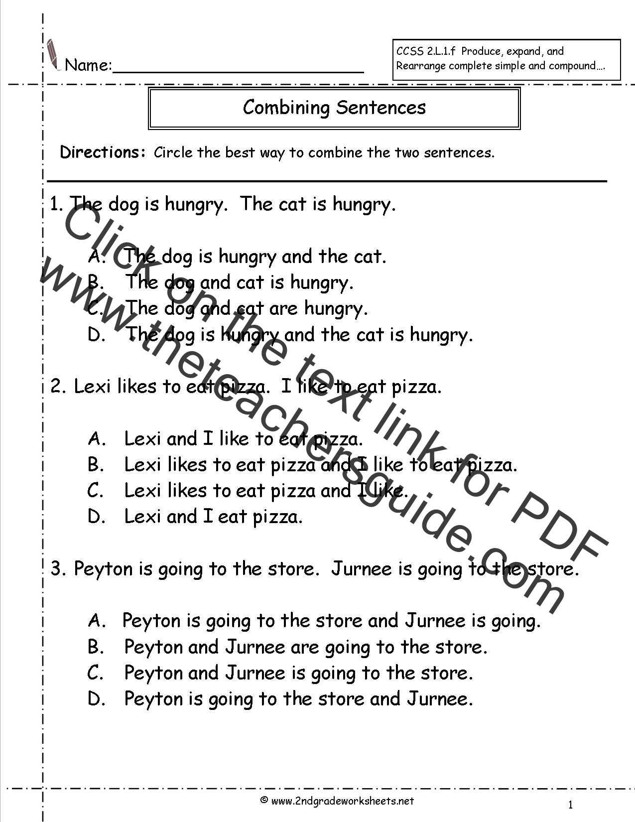 Printables Number Sentence Worksheets 2nd Grade second grade sentences worksheets ccss 2 l 1 f combining worksheet