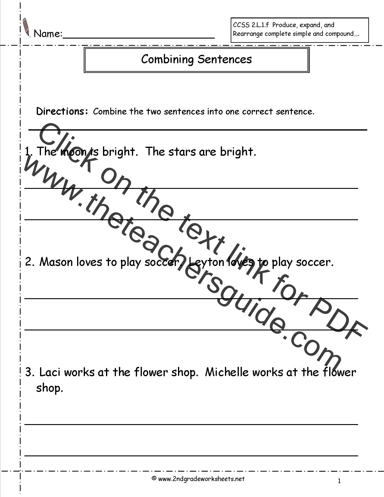 worksheet 7th Grade Math Worksheets Common Core second grade sentences worksheets ccss 2 l 1 f combining worksheet