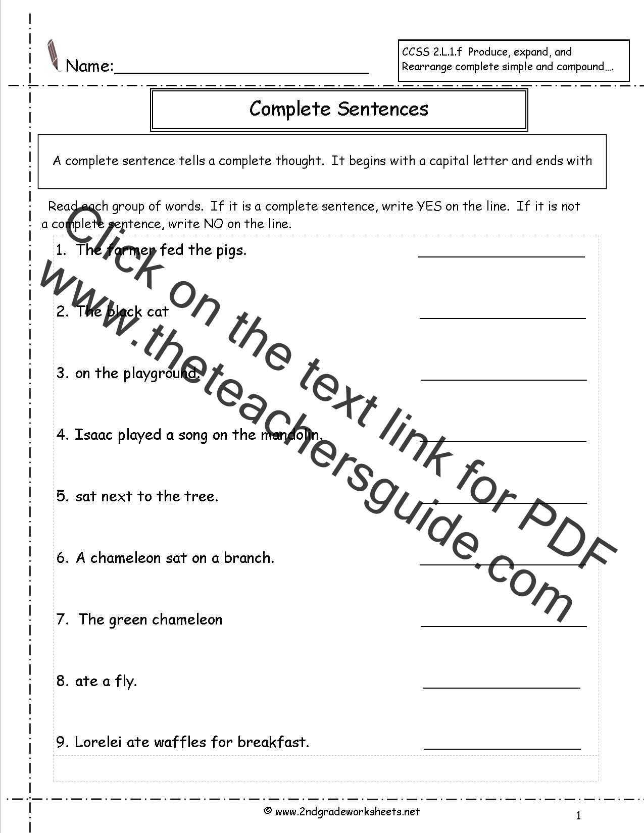 Printables Writing Complete Sentences Worksheets second grade sentences worksheets ccss 2 l 1 f complete sentence worksheet