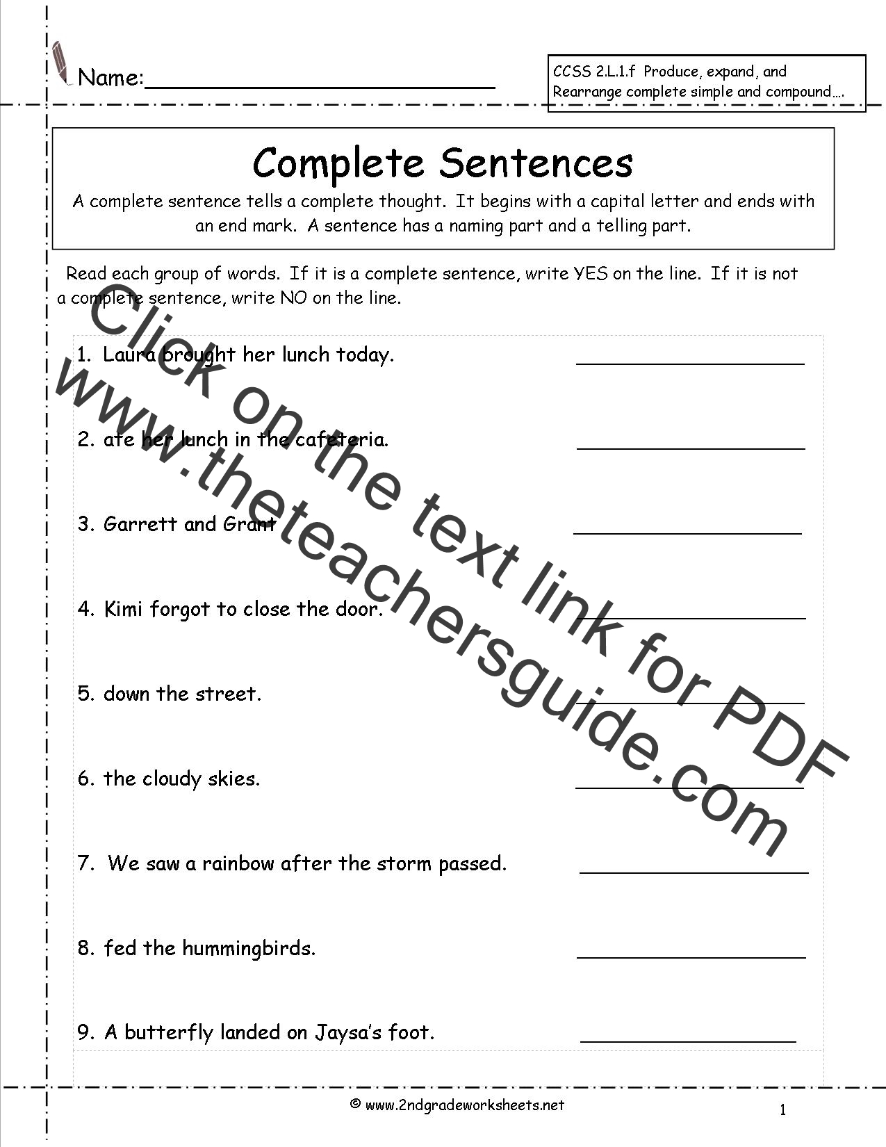 {Second Grade Sentences Worksheets CCSS 2L1f Worksheets – Complete Sentence Worksheet