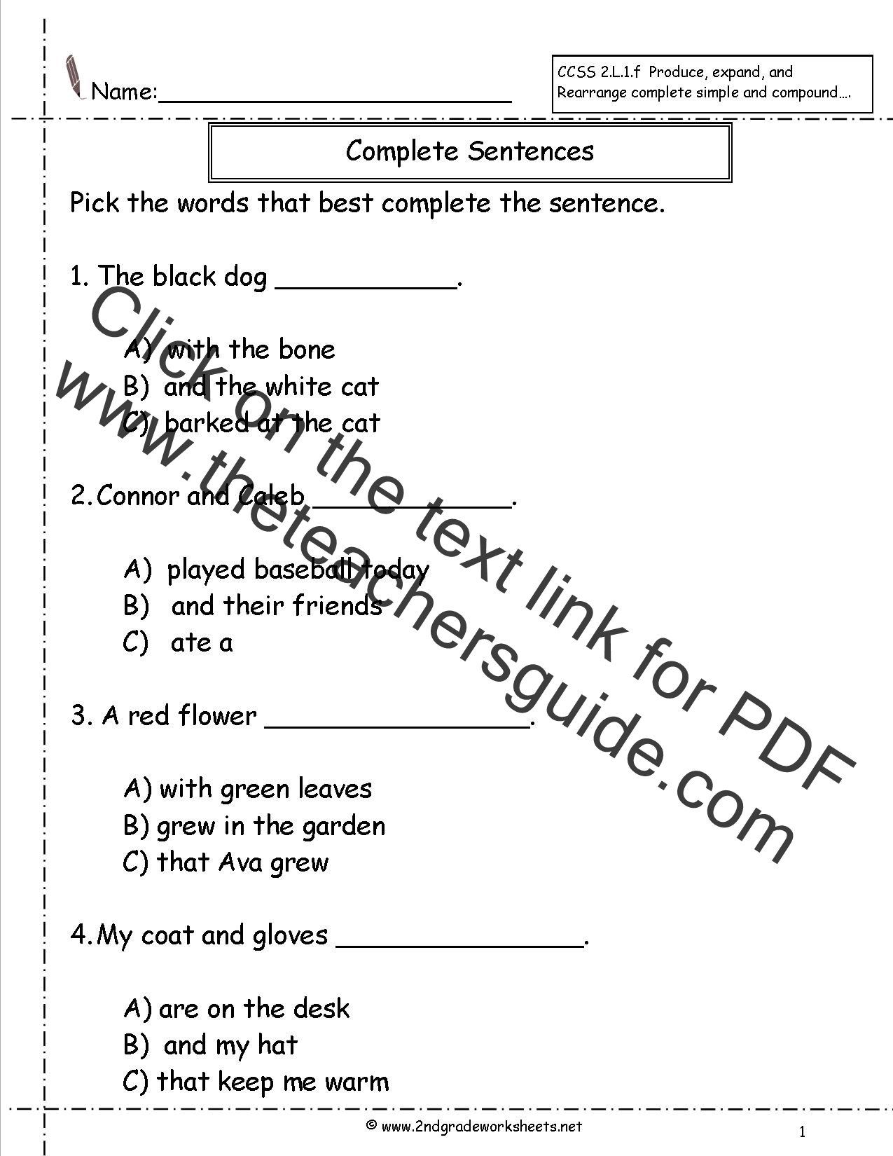 Vocabulary Sentences Worksheets : Second grade sentences worksheets ccss l f