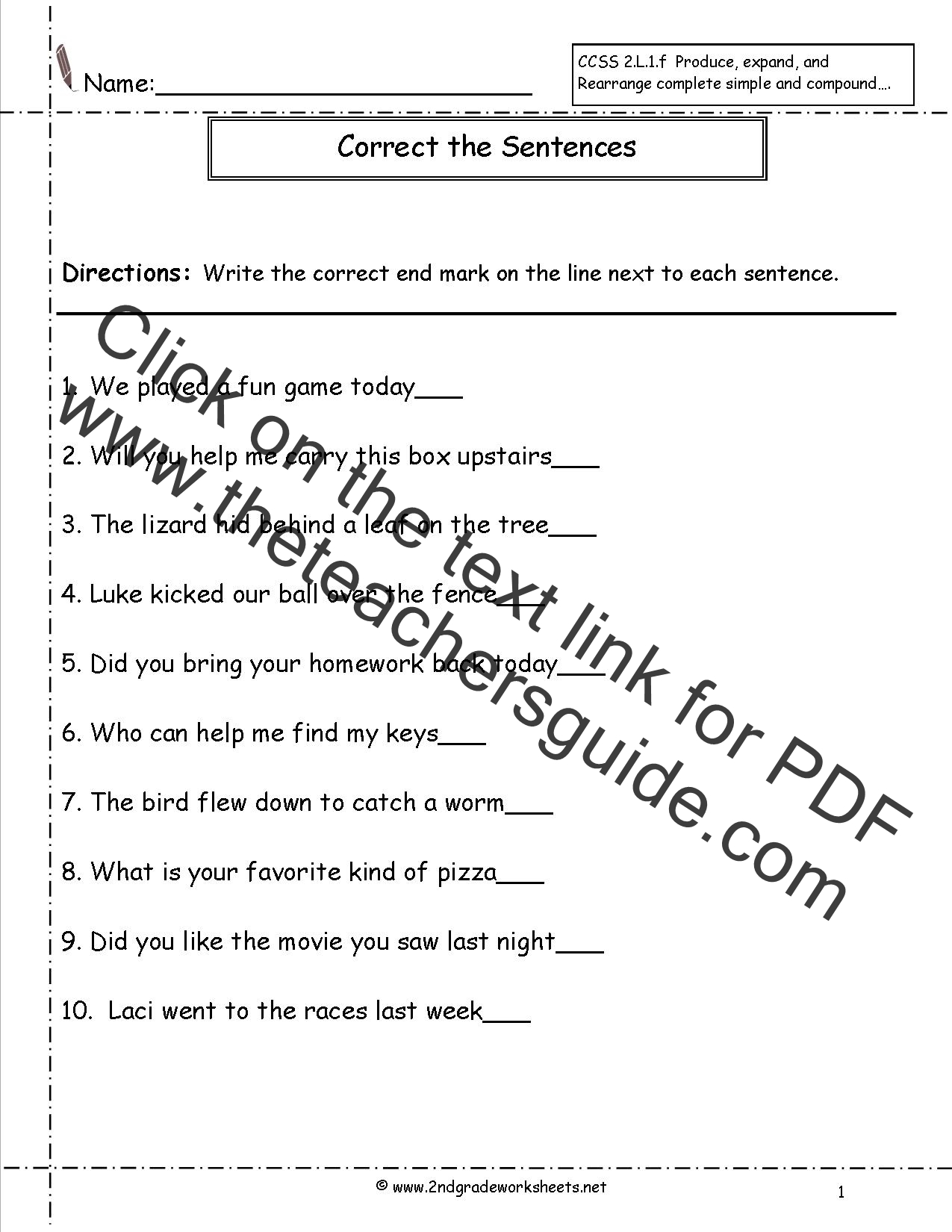 Second Grade Sentences Worksheets CCSS 2L1f Worksheets – Correcting Sentences Worksheets