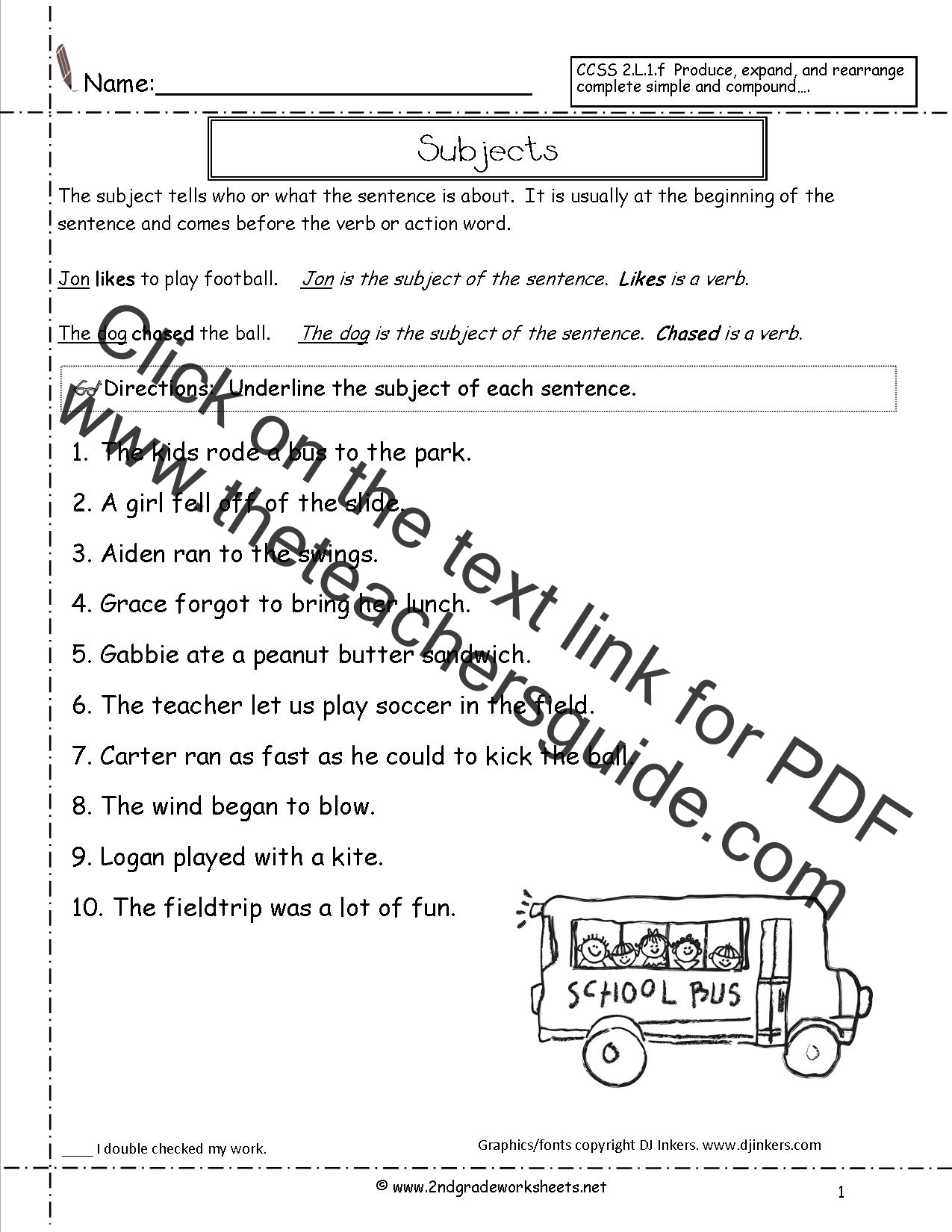Worksheets Simple Subject Worksheets second grade sentences worksheets ccss 2 l 1 f sentence worksheet subjects