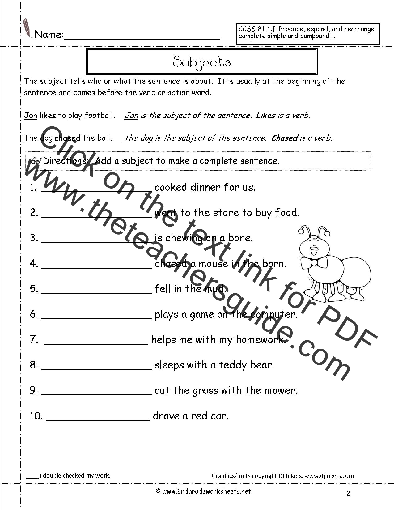 Printables Four Kinds Of Sentences Worksheets second grade sentences worksheets ccss 2 l 1 f subjects worksheet sentence subjects