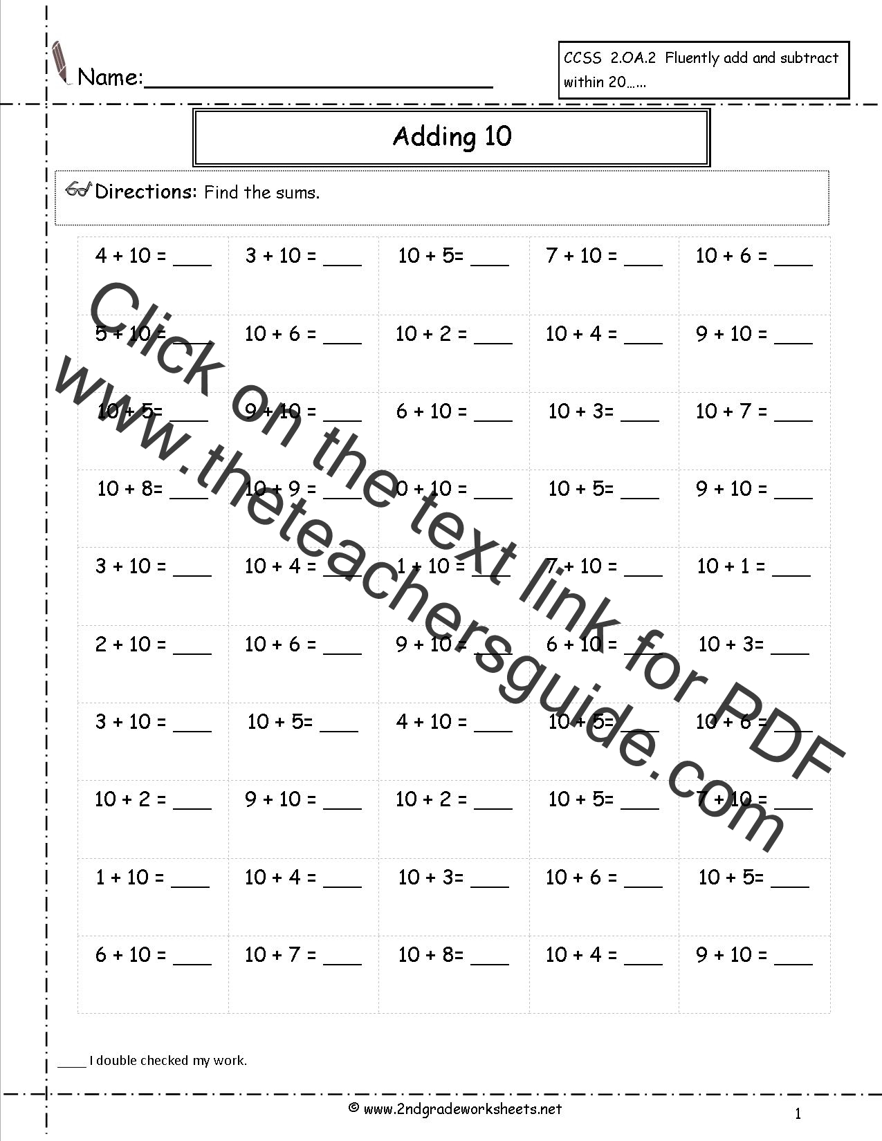 Free Single Digit Addition Worksheets Adding Ten Addition Facts Worksheet