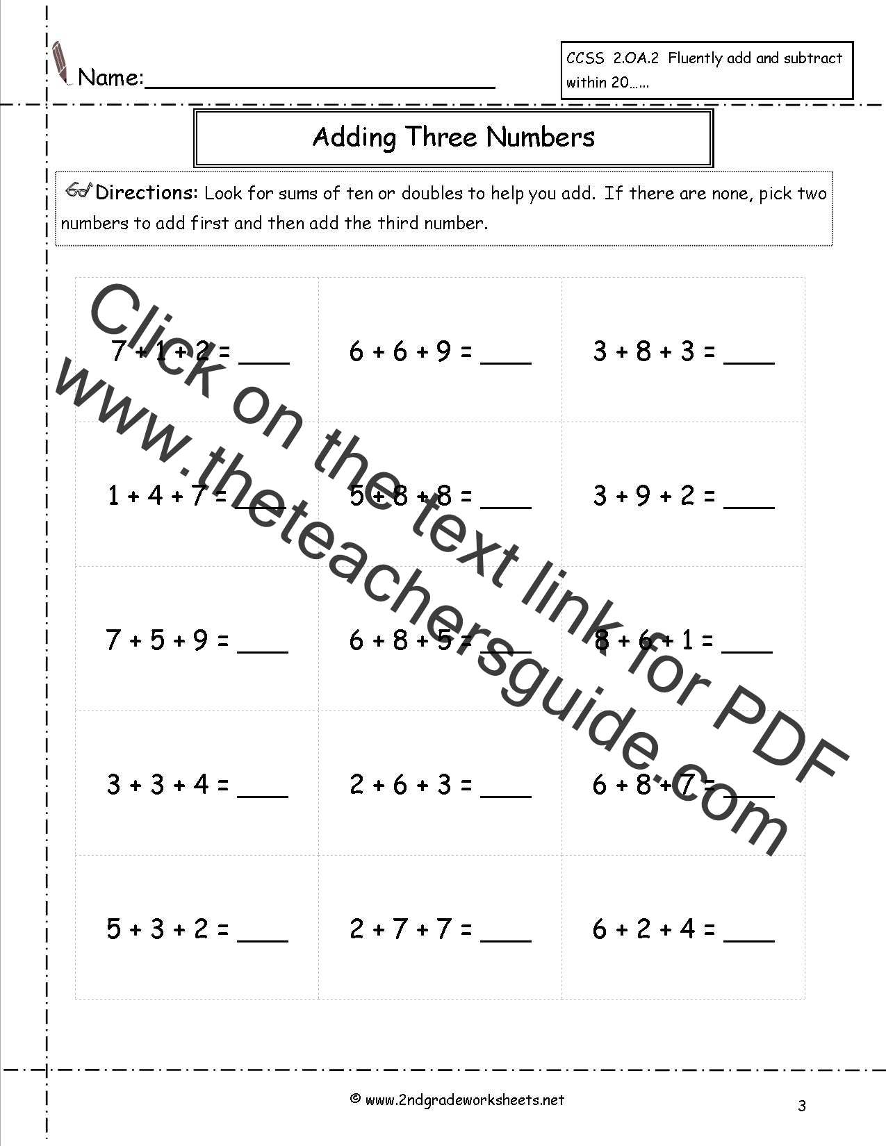 worksheet Adding Three Numbers Worksheets adding three or more single digit numbers worksheets digits additon worksheet 2