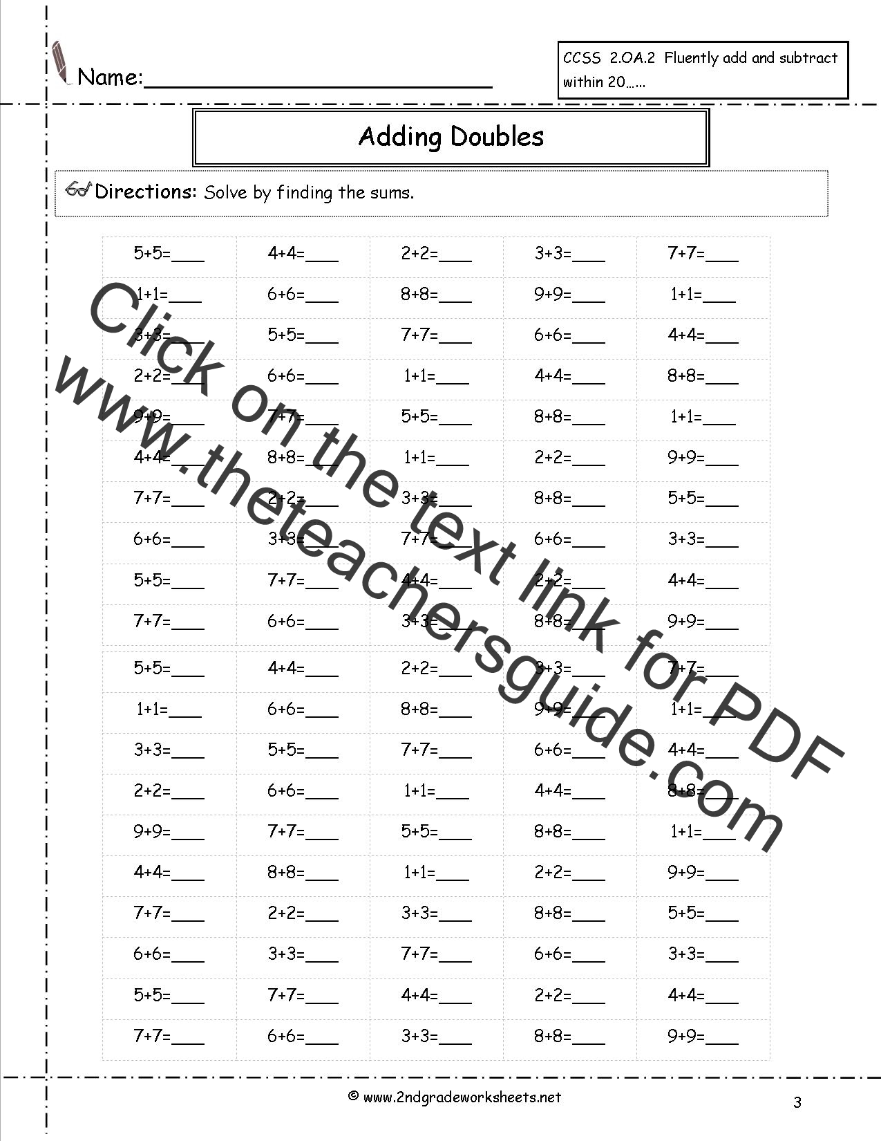 worksheet Adding Doubles free single digit addition worksheets doubles facts worksheet worksheet