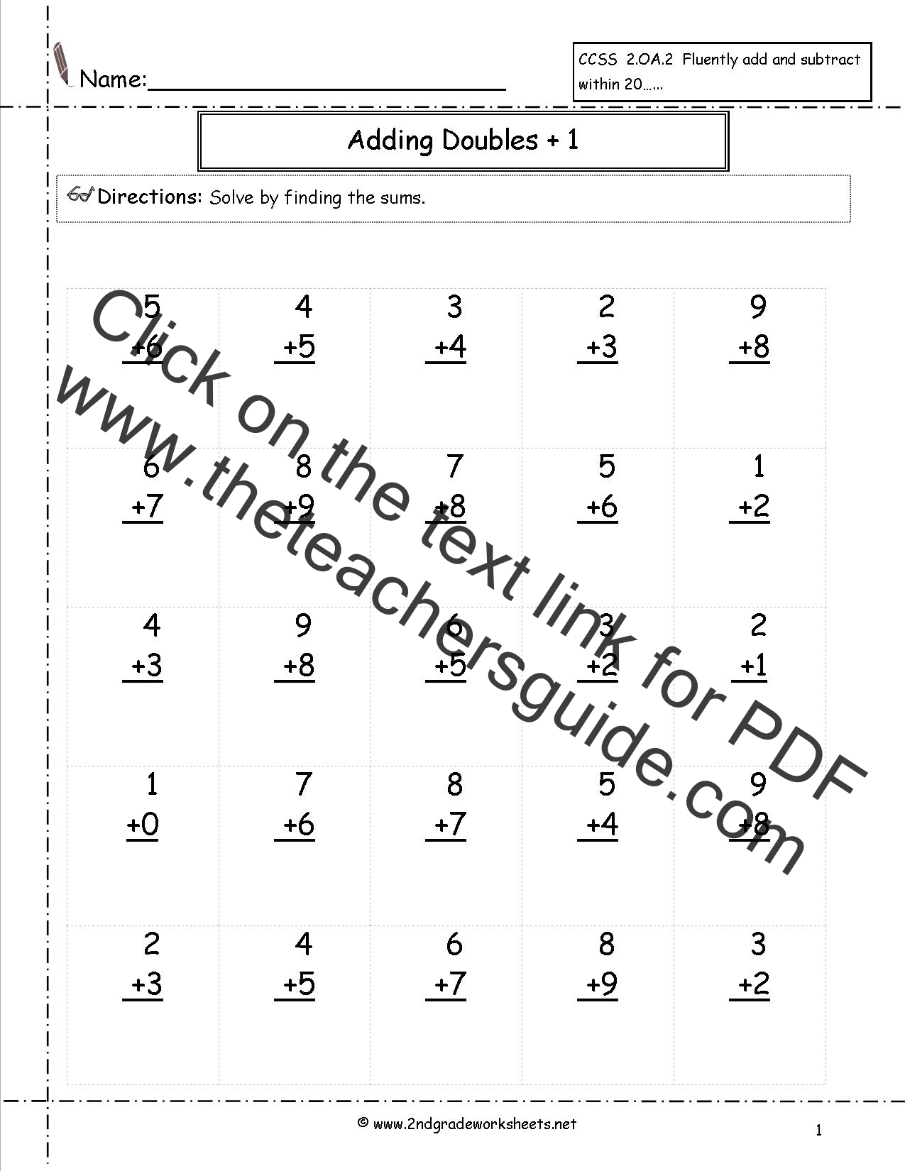 ... Fluency Worksheets, Doubles Worksheets, Doubles Plus One